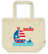 Carry Bag / Canvas Tote Bag Personalised for kids  - Boat