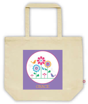 Carry Bag / Canvas Tote Bag Personalised for kids  - Flowers