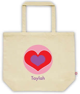 Carry Bag / Canvas Tote Bag Personalised for kids  - Heart