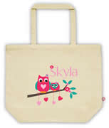 Carry Bag / Canvas Tote Bag Personalised for kids  - Owls