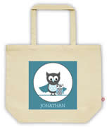 Carry Bag / Canvas Tote Bag Personalised for kids  - Owls Boys