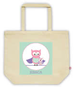 Carry Bag / Canvas Tote Bag Personalised for kids  - Owls Girls