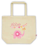 Carry Bag / Canvas Tote Bag Personalised for kids  - Pink Elephant