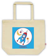 Carry Bag / Canvas Tote Bag Personalised for kids  - Space