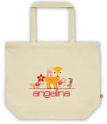 Carry Bag / Canvas Tote Bag Personalised for kids  - Woodland