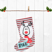 Christmas Stocking for Kids Personalised  - Boys Reindeer Design
