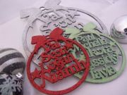 .Bauble Christmas for the Family Glitter Custom Christmas Decorations