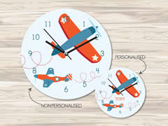 Wall Clock MDF Personalised for Kids Boys - Acrobat Planes