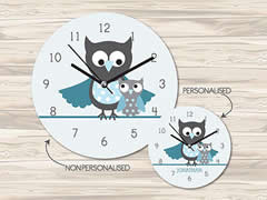 Wall Clock MDF Personalised for Kids Boys - Baby Owl