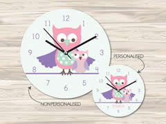 Wall Clock MDF Personalised for Kids Girls - Baby Owl