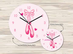 Wall Clock MDF Personalised for Kids Girls - Ballerina