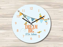 Wall Clock MDF Personalised for Kids Boys - Big Dreams