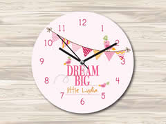 Wall Clock MDF Personalised for Kids Girls - Big Dreams