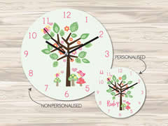 Wall Clock MDF Personalised for Kids - Bird In A Tree