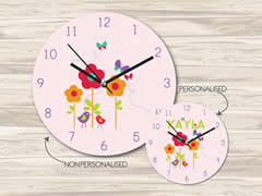 Wall Clock MDF Personalised for Kids Girls - Birds and Butterflies