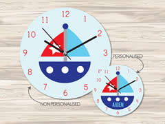 Wall Clock MDF Personalised for Kids Boys - Boat