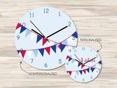 Wall Clock MDF Personalised for Kids Boys - Bunting