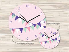 Wall Clock MDF Personalised for Kids Girls - Bunting