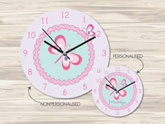 Wall Clock MDF Personalised for Kids Girls - Butterflies