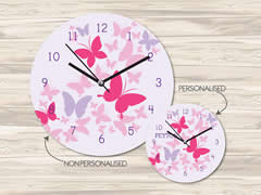 Wall Clock MDF Personalised for Kids - Butterfly Burst