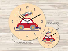 Wall Clock MDF Personalised for Kids Boys - Car