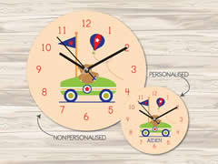 Wall Clock MDF Personalised for Kids Boys - Cart