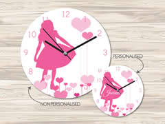 Wall Clock MDF Personalised for Kids Girls - Dancing Girl