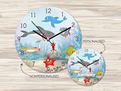 Wall Clock MDF Personalised for Kids - Deep Sea