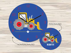 Wall Clock MDF Personalised for Kids Boys - Digger