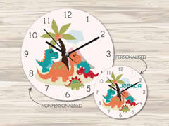 Wall Clock MDF Personalised for Kids Boys - Dinosaur