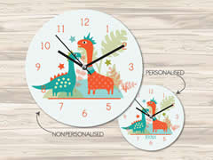 Wall Clock MDF Personalised for Kids - Dinosaur Friends