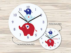 Wall Clock MDF Personalised for Kids Boys - Elephant Stack