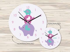 Wall Clock MDF Personalised for Kids Girls - Elephant Stack