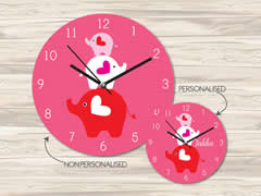 Wall Clock MDF Personalised for Kids Girls - Elephants