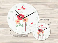 Wall Clock MDF Personalised for Kids Girls - Flowers