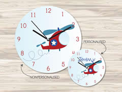 Wall Clock MDF Personalised for Kids Boys - Helicopter