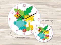 Wall Clock MDF Personalised for Kids - Jungle