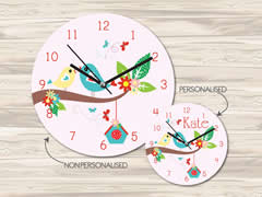 Wall Clock MDF Personalised for Kids Girls - Love Birds