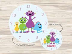 Wall Clock MDF Personalised for Kids Boys - Monsters