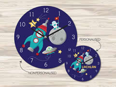 Wall Clock MDF Personalised for Kids Boys - Outer Space