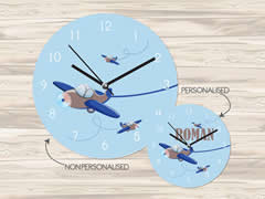 Wall Clock MDF Personalised for Kids Boys - Planes