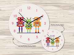 Wall Clock MDF Personalised for Kids - Robots