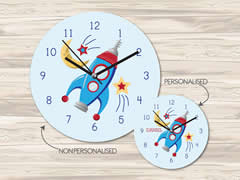 Wall Clock MDF Personalised for Kids Boys - Rocket