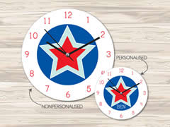 Wall Clock MDF Personalised for Kids Boys - Star