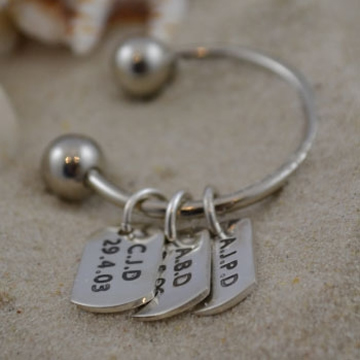 Personalised Silver Jewellery for Dad, Men - Small tag (one) on Keyring Sterling Silver