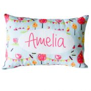 .Personalised Cushion for kids - Aqua Garden Party Design