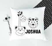 .Personalised Cushion for kids - Boys- Monochrome Zoo Animal