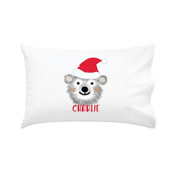 .Personalised Kids Pillowcase Merry Christmas Bear