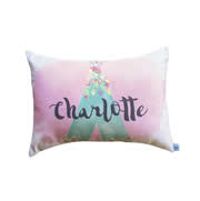 .Personalised Cushion for kids - Girls Floral Tee Pee Design