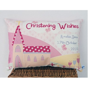 Personalised Christening Cushion for Girls - CHURCH Design